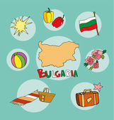 The set of national profile of the bulgaria cartoon state of the world isolated