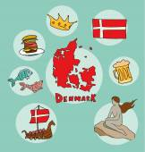 Fotografie The set of national profile of the denmark cartoon state of the world isolated