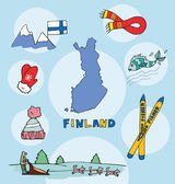 Fotografie The set of national profile of the finland cartoon state of the world isolated