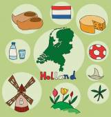 Fotografie The set of national profile of the holland cartoon state of the world isolated