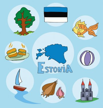 The set of national profile of the estonia cartoon state of the world isolated