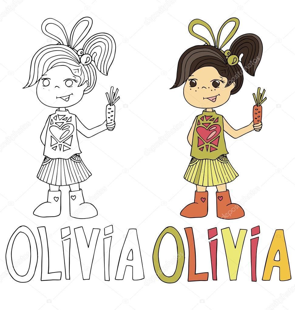 La simple caricatura dibuja para colorear de imagen de niños con ...
