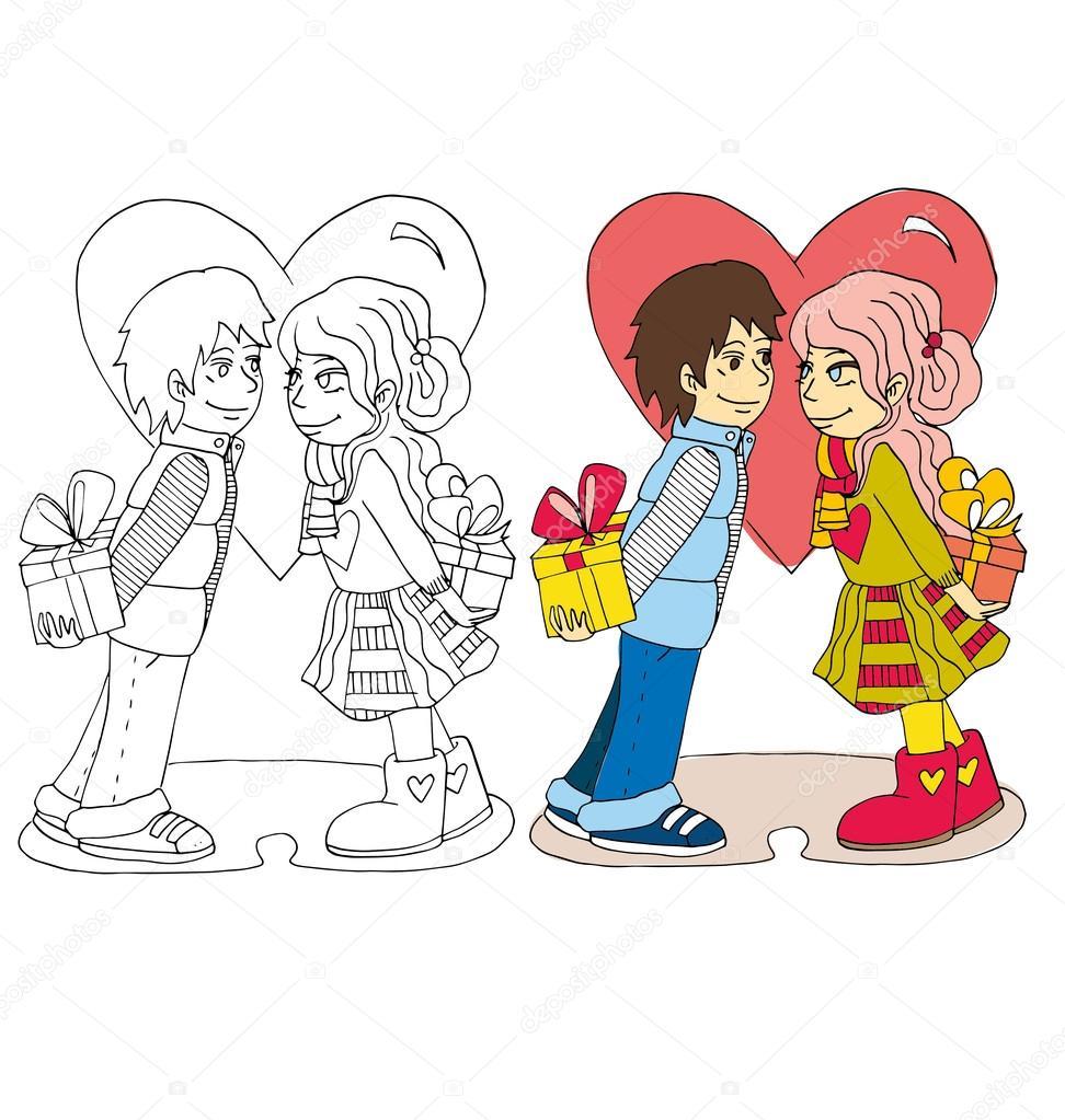 la caricatura de la pareja para el día de San Valentín color y para ...