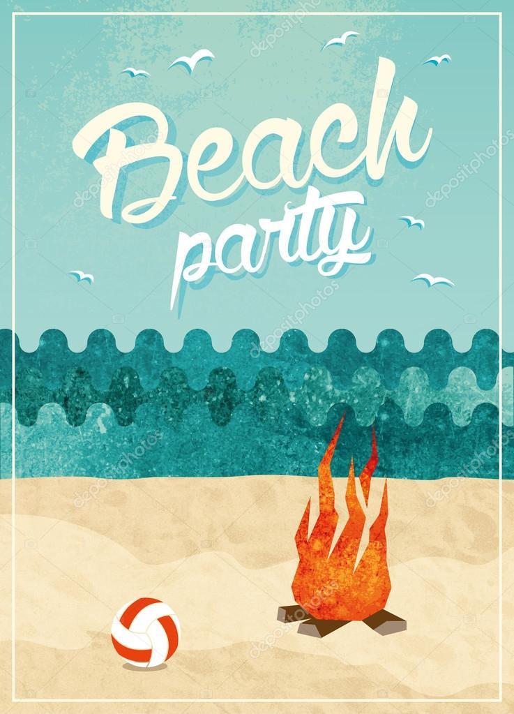 Vintage Beach Party Poster Design Stock Photo