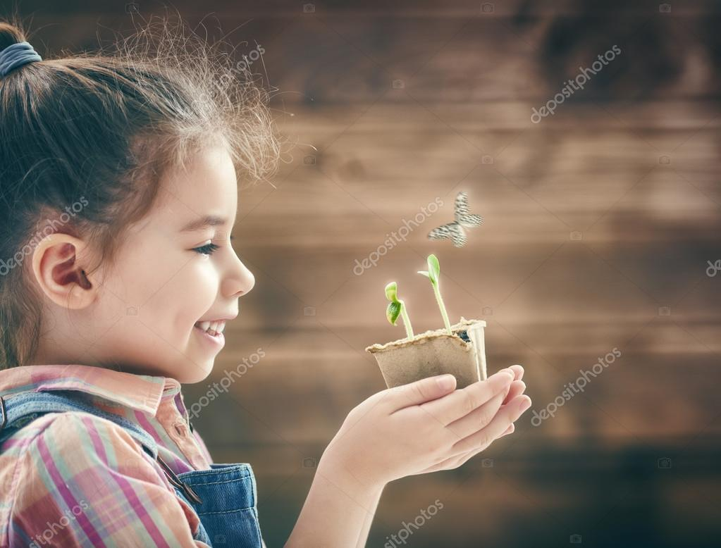 girl planting seedlings