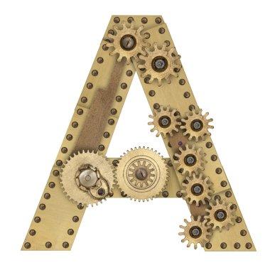 Steampunk alphabet letter A