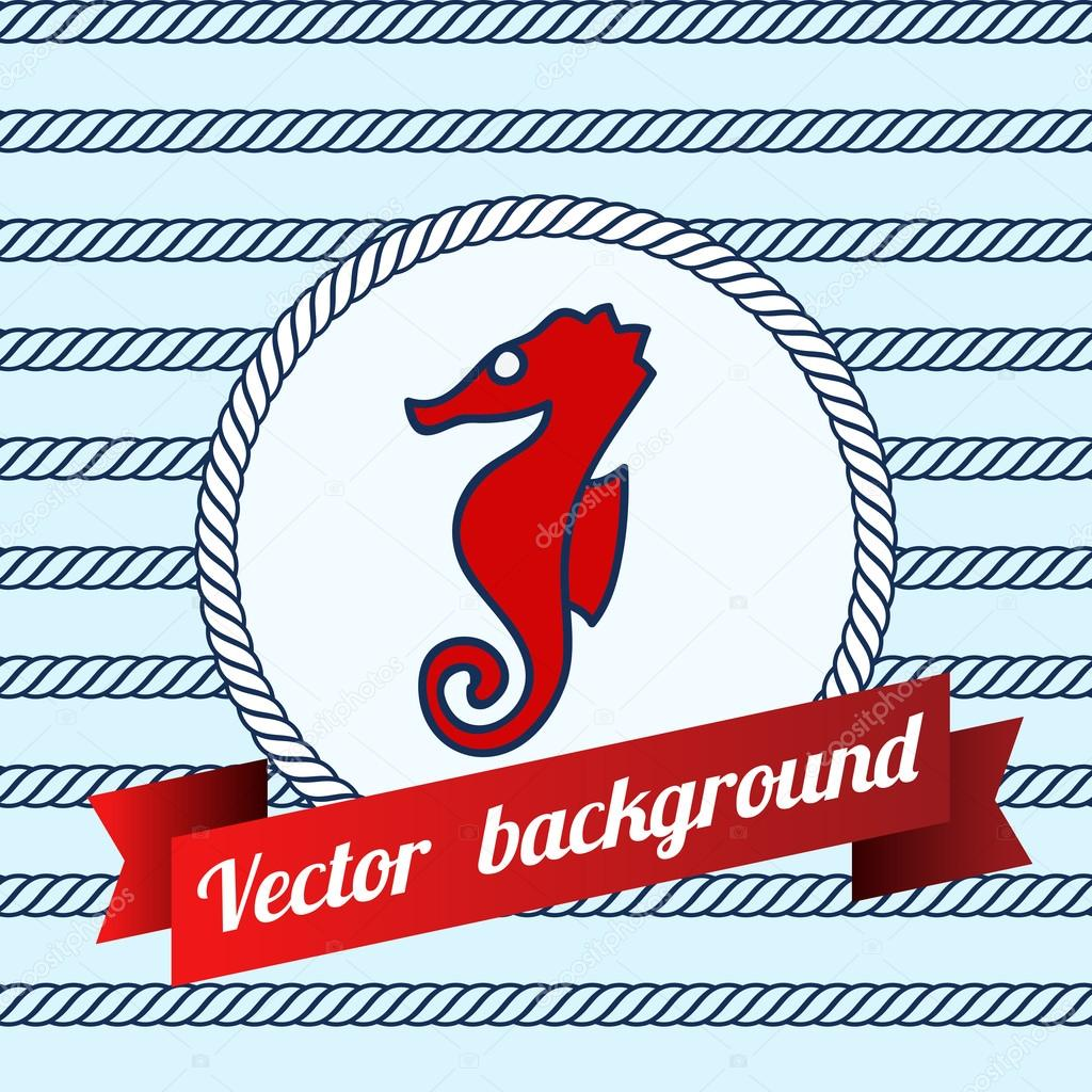 Label with sea fish on blue color background made of ropes. — Stock ...