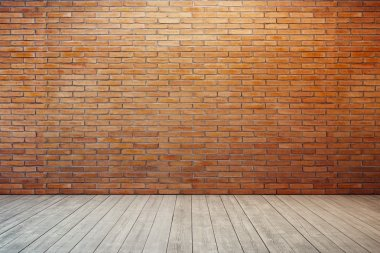 empty room with red brick wall