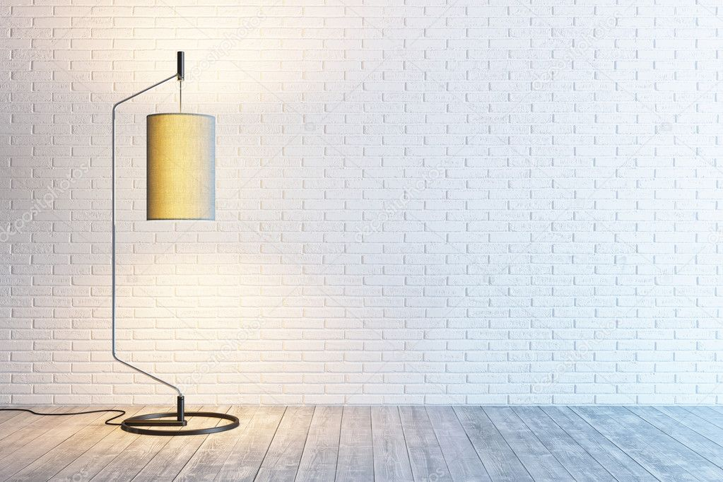 arredamento moderno della camera con lampada da terra — Foto Stock ...