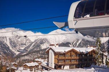 Mountains ski resort Caucasus- nature and sport background stock vector