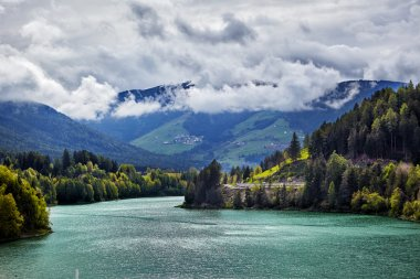 mountains and lake in alps