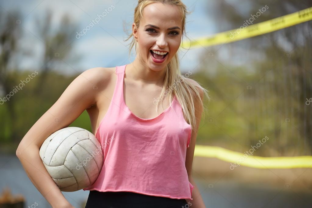 Sexy Blond Girl Playing Volleyball  Stock Photo -9643