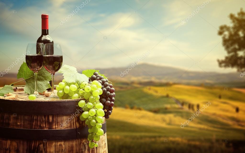 Red wine on barrel