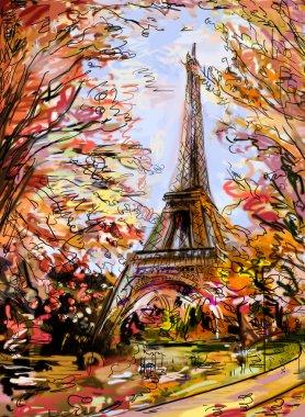 Street in autumn Paris
