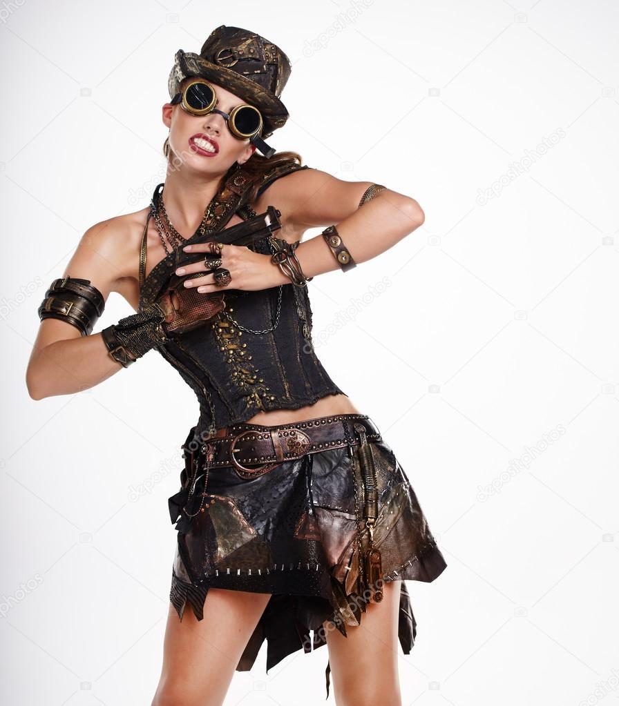 Venta de liquidación mejor precio para sitio web profesional Mujer moda Steampunk — Foto de stock © zoomteam #57267733
