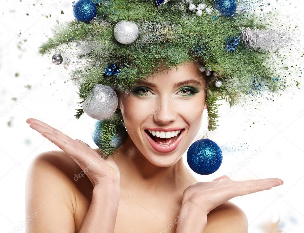 Woman with Christmas Tree Hairstyle and Make up