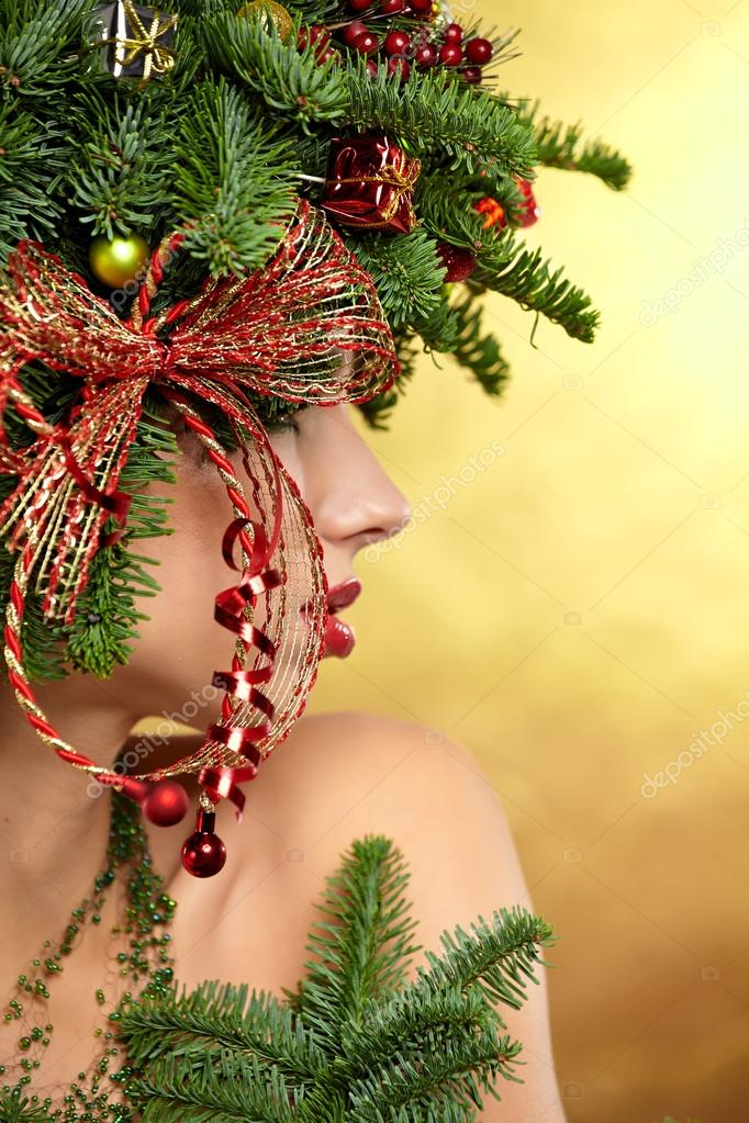 Woman with Christmas Hairstyle and Make up