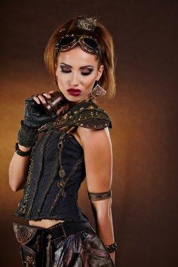 Steampunk woman over gunge background