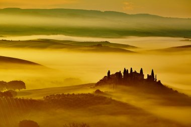 Scenic Tuscany landscape with rolling hills and valleys in golden morning light stock vector