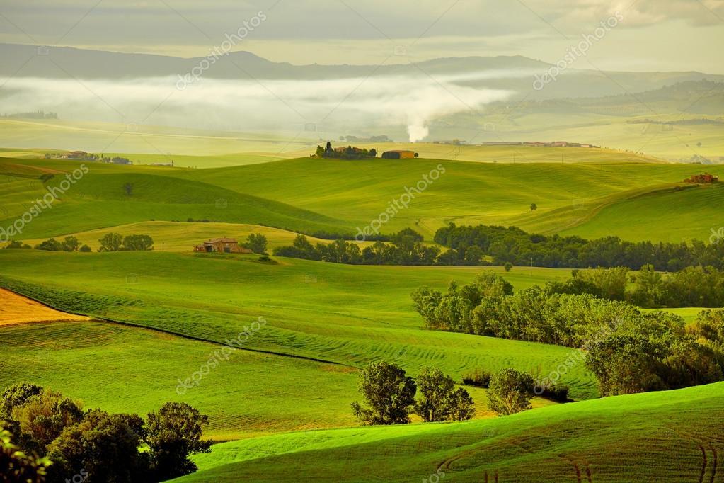 Фотообои Tuscany, rural sunset landscape.