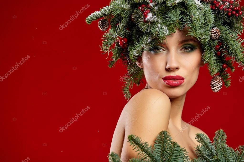 Madchen Mit Weihnachtsbaum Frisur Stockfoto C Zoomteam 91531282