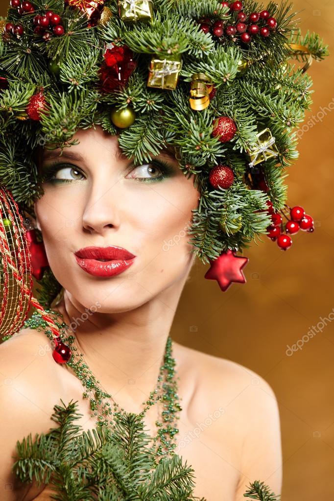 Madchen Mit Weihnachtsbaum Frisur Stockfoto C Zoomteam 91660132