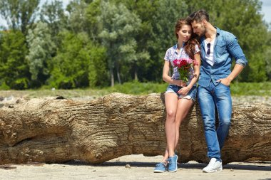 beautiful couple with flowers