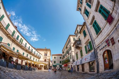 old town of Kotor in fish-eye view
