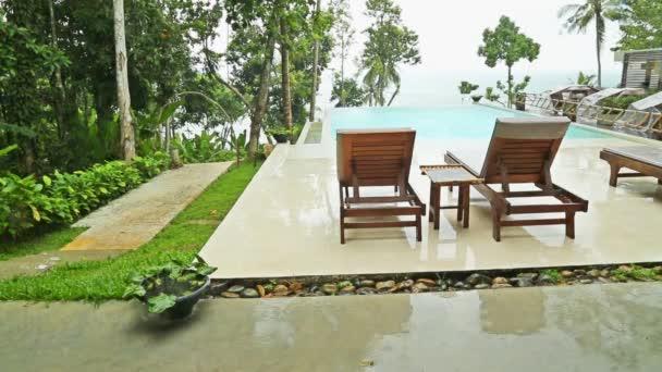 Pool in rainy weather