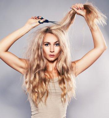 Woman cut her hair