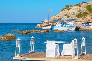Cafe on a coast. Kolymbia. Rhodes, Greece