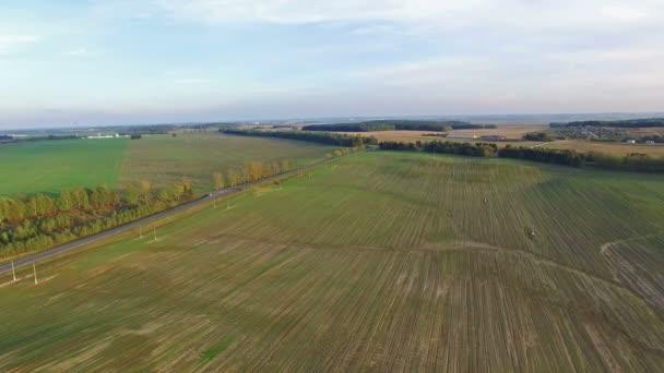 4 k. letu nad zelených kopcích a polích v západu slunce, letecké panoramatický pohled