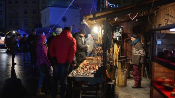 KRAKOW, POLAND - JANUARY 4 2016: Christmas street market in the main square of Krakow, Poland.