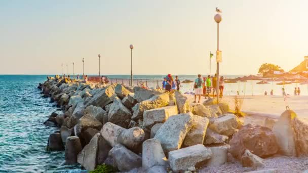 NESSEBAR, BULGARIA - JULY 26 2016: Timelapse Nesebar is an ancient town and one of the major seaside resorts on the Bulgarian Black Sea Coast, located in Burgas Province.