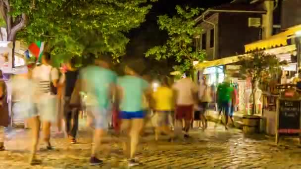 SOZOPOL, BULGARIA - JULY 23 2016: Timelapse Evening Sozopol is an ancient seaside town located 35 km south of Burgas on the southern Bulgarian Black Sea Coast.