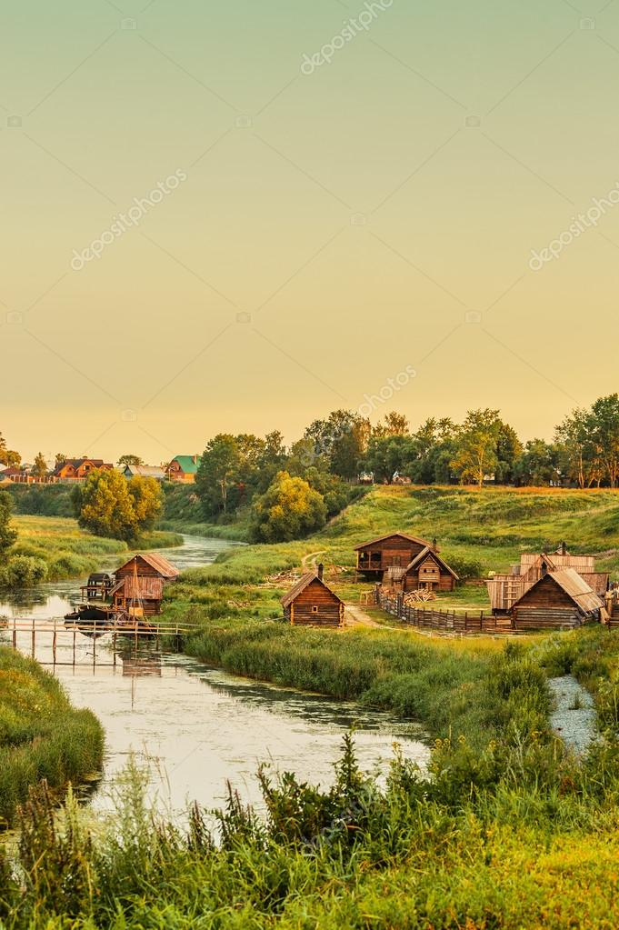 Wooden house near river