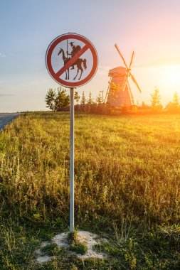 Road sign prohibits Don Quixote