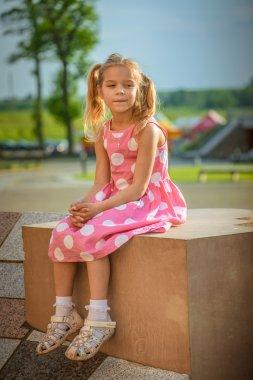 heerful girl in dress