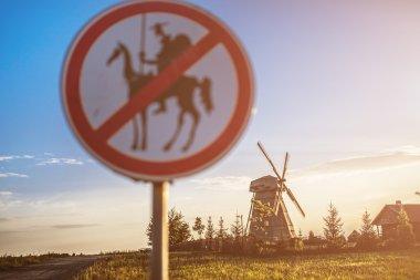 Road sign prohibits Don Quixote