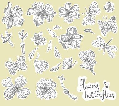 Beautiful Doodle flower set