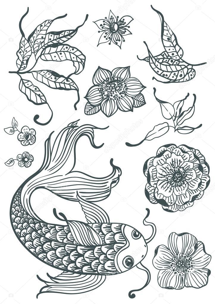 Con estilo doodle floral fondo con peces koi y flores — Vector de ...
