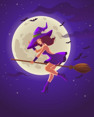 Halloween illustration with witch on broom