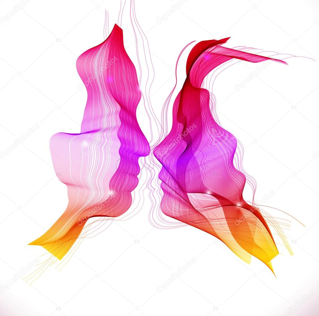 Silhouettes of loving couple, abstract illustration