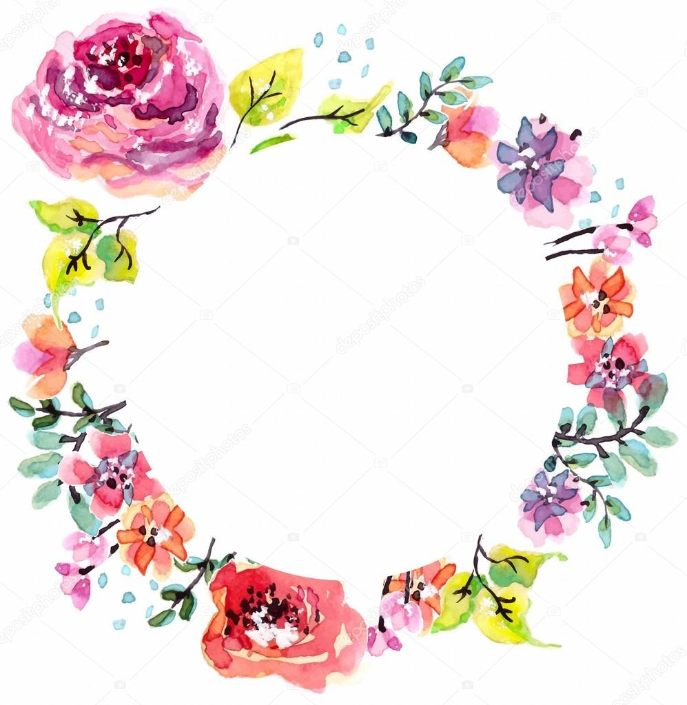 Watercolor floral frame stock vector vasilek 56408451 for Cadre floral mural