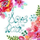 Akvarell virágos keret esküvői meghívó