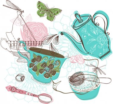 Tea time illustration with flowers