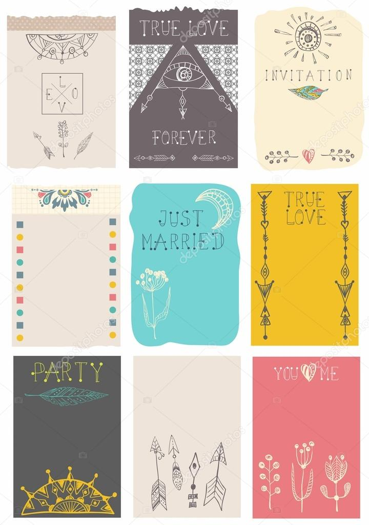 Hand drawn collection of floral cards