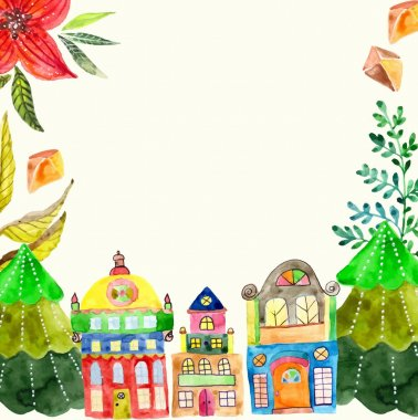 Watercolor beautiful Christmas card with cute houses
