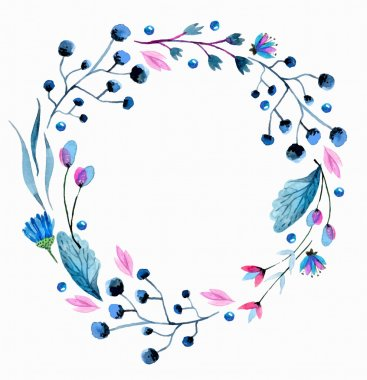 Watercolor flower wreath over white clip art vector