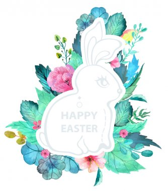 Easter watercolor natural illustration with rabbit sticker